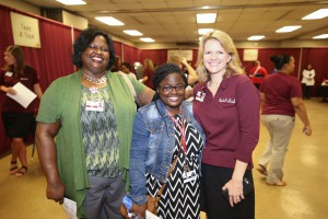 From left, Felicia Jones, a Single Stop site coordinator; Anna Jones, her daughter, both of Rolling Fork; and Kim Neely, Health Continuing Education Coordinator, at the fall 2017 Nursing Showcase at the Jackson Campus-Nursing/Allied Health Center (Hinds Community College/April Garon)
