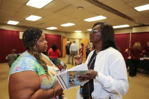 Willie Thompson, left, of Jackson, chats with Practical Nursing Instructor Patricia Collins at the fall 2017 Nursing Showcase on Sept. 5 at Hinds Community College Jackson Campus-Nursing/Allied Health Center. (Hinds Community College/April Garon)