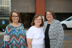 From left, Judy Fortenberry, Martha Hopper and Dr. Libby Mahaffey gather following a reunion Sept. 21 of retired deans and faculty at Hinds Community College Jackson Campus-Nursing/Allied Health Center. Hopper was among the first students at NAHC, which opened in 1982. (Hinds Community College/April Garon)