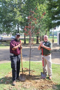 Lee Cooper, left, maintenance technician at Hinds Community College Jackson Campus-Nursing/Allied Health Center, and Mike Daniels, facilties manager for the facility, stand near a plum tree planted during a reunion of retired deans and faculty Sept. 21 at the facility. (Hinds Community College/April Garon)
