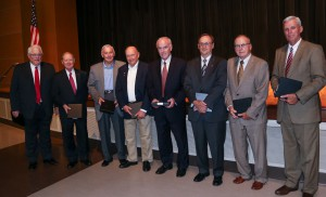 A number of Rankin countians were among the 100 People Passionate about Hinds Community College. Attending the Rankin Campus Centennial celebration on Sept. 15 from among those honorees were, from left, Dr. Mike Vinson, Rep. Tom Weathersby, Dr. Wayne Stonecypher, Jimmy C. Smith, Jim Smith, Sen. Dean Kirby, Irl Dean Rhodes and Chancery Clerk Larry Swales, who is president of Hinds' Alumni Association.