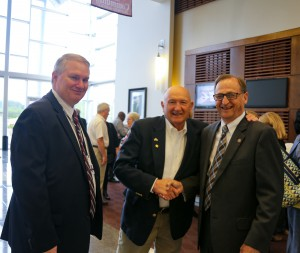 Current Rankin Campus Vice President Dr. Norman Session, left, visits with retired Rankin Campus Vice President Jimmy C. Smith and Sen. Dean Kirby at the Sept. 12 Rankin Campus Centennial celebration. (April Garon/Hinds Community College)