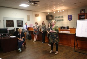 Joy Rhoads, coordinator of the Honors Program at Hinds Community College Rankin Campus, talks to students who attended this year's Honors Day held on campus Oct. 20. (Hinds Community College/April Garon)