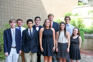 New chapter officers, from left, Win Winstead, of Pelahatchie, Carlos Martinez, of Pearl, Madison Brunt, of Brandon, Hannah Stovall, of Brandon, Claudia Nelson, of Flowood; back row, from left, Jacob Mahaffey, of Puckett, Josh Williamson, of Brandon, James Flickner, of Pelahatchie, Eric Kinan, of Florence (Hinds Community College/April Garon)