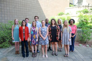 Front row, from left,  Breanna McCord, of Pearl, Ashlyn Rader, of Puckett, Victoria Lawrence, Jordan Nowell, both of Pearl, Courtney Lum, of Pelahatchie; back row, from left, Scarlett Mitchell, of Pearl, Jacob Mahaffey, of Puckett, Eric Kinan, of Florence, Lakitia Lee, of Pelahatchie, Cristina Steinwinder, of Florence, Shelby Moore, of Pearl (Hinds Community College/April Garon)