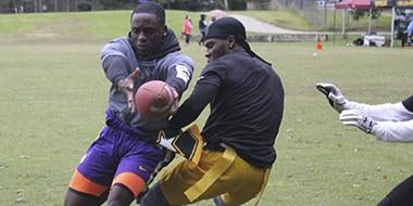 football player catching a pass