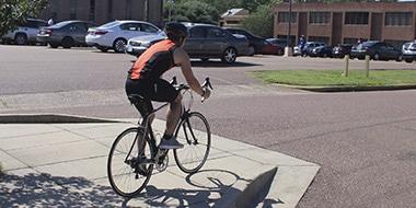 bicyclist in a triathlon