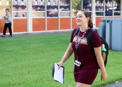 Naomi Edwards, of Raymond, heads to class Aug. 19, 2019 as the f