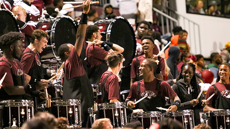 Drum Line at football game